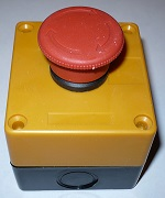 E-stop button with mounting box