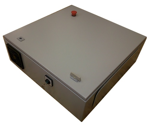 Empty powder coated steel enclosure 400x400x200mm with reset button, cooler fan and keylock