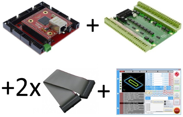 UC300ETH-5LPT + UCBB breakout board + 2xIDC26-IDC26 cables + free UCCNC license key